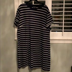 City Chic navy Blue striped T-shirt dress